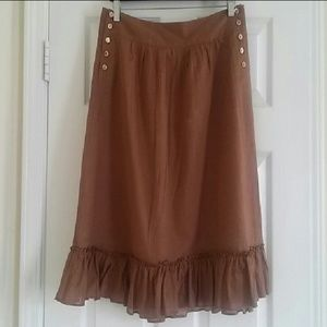J. Crew brown ruffled skirt